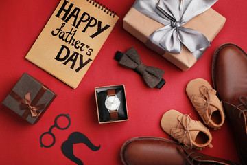 Flat lay composition with shoes, male accessories and gift boxes on color background. Happy Father's Day