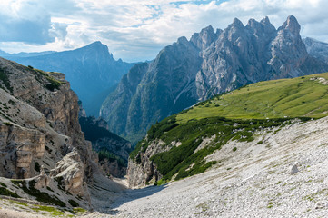 Rugged Mountain Ranges in Tre Cima Natural Park Area in the Italian Dolomites.