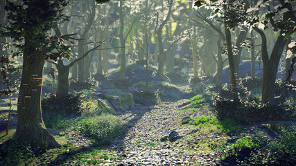 path through magical forest at sunrise, beautiful fantasy landscape