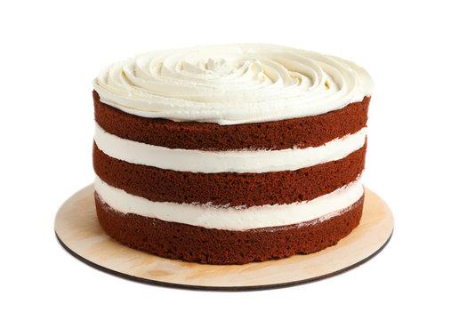 Delicious homemade red velvet cake on white background