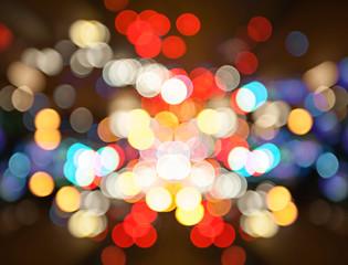 blurred of Night city street lights bokeh background