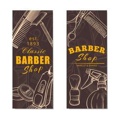 Barber shop vertical banner set in brown