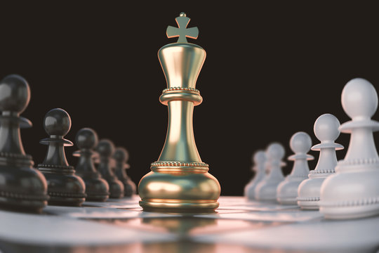 Golden King Chess piece Concept for business competition and strategy.