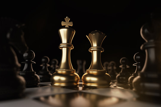 Golden King and Queen Chess piece Concept for business competition and strategy.