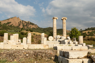 ruins of the Temple of Artemis in the 2nd century city of Sardis, capital of the Lydian empire