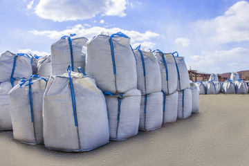 open warehouse of big bags