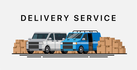 Cargo transportation. Delivery service. Express delivery by car. Trucking by car. Service of delivery by cars. Service of delivery of parcels by car. Cars for moving. Flat style. Flat design. Vector