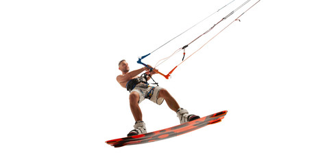 Kitesurfing isolated on white