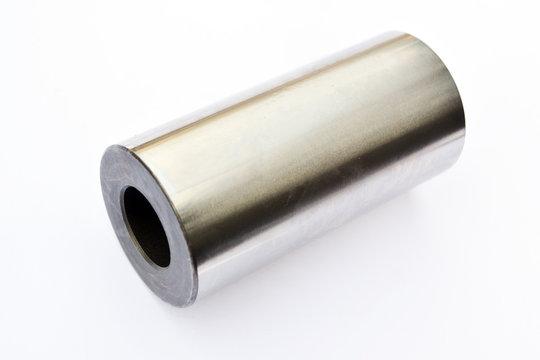 engine piston pin close-up on isolated white background