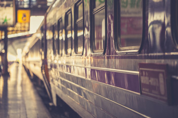 Vintage Thai train at railway station