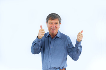 positiv looking  man showing thumbs up sign