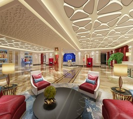 3d render of luxury hotel lobby entrance