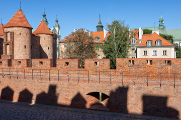 City wall in Old town of Warsaw in Poland