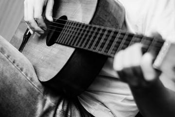 Guitar instrument. Musician or guitarist