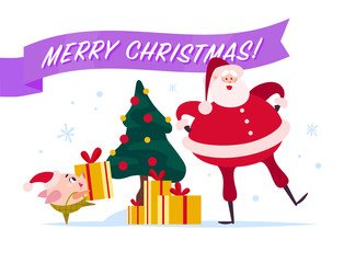Vector flat Merry Christmas illustration with Santa Claus, cute pig elf at decorated New year fir tree carry gift box, xmas holiday congratulation isolated on white background. Web banner, package.