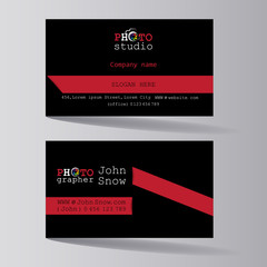 PHOTO STUDIO. Business card of the photographer. Business card template  from both sides, a creative business card of a photo artist, a photo studio worker, salon.