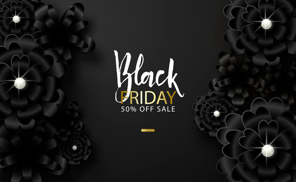 Black friday sale background with beautiful black flowers. Modern design.Universal vector background for poster, banners, flyers, card.