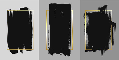 Vector black paint, ink brush stroke, brush, line or texture. Texture artistic design element, box, frame or background for text. Fototapete