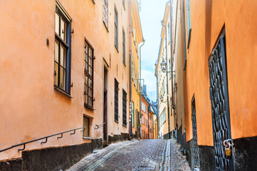 Beautiful street of Old Town in Stockholm, Sweden