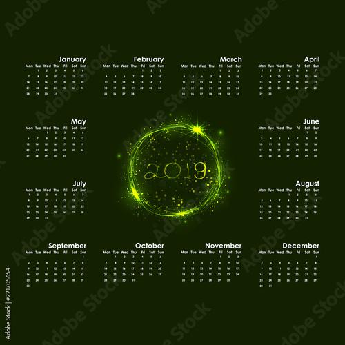 2019 calendar templatestarts mondayyearly calendar vector design stationery templatehappy new
