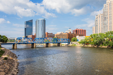 Downtown Grand Rapids Michigan view from the Grand River Wall mural