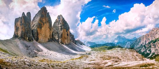 Keuken foto achterwand Europese Plekken Tre Cime di Lavaredo panoramic view. Dolomiti Italian Alps, Veneto, Italy