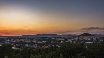 "View on town during sunset. The czech city ""Ceska Lipa""."