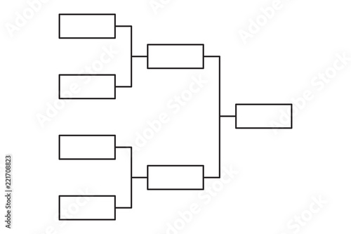 Tournament bracket 4 team icon template