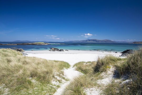 Sand dunes on the North Beach of the Isle of Iona, Scotland, UK, on a sunny day