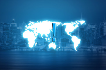 Exclamation mark over world map hologram and blurred city background