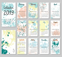 Hand drawing vector Calendar 2019. Abstract painting templates. Week starts from Sunday.