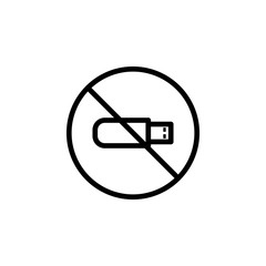 ban flash drive icon. Element of prohibition sign for mobile concept and web apps icon. Thin line icon for website design and development, app development. Premium icon