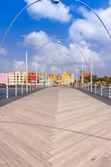 Wall Mural - Floating pantoon bridge in Willemstad, Curacao