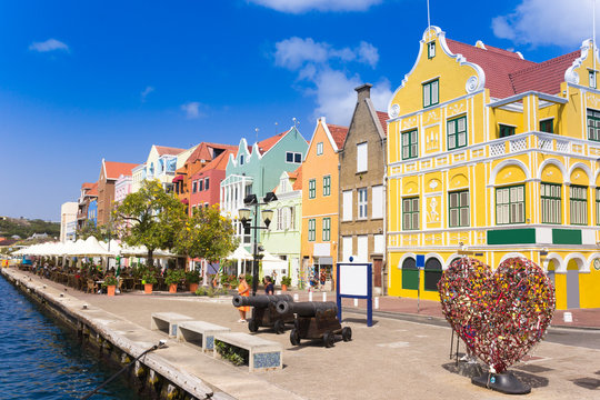 view at pantoon bridge and downtown in Willemstad, Curacao