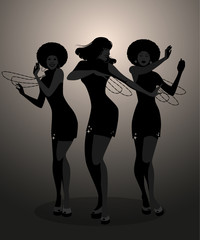Silhouettes of three dancer and soul singer in the style of the sixties