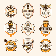 Vector honey logo, icons and design elements