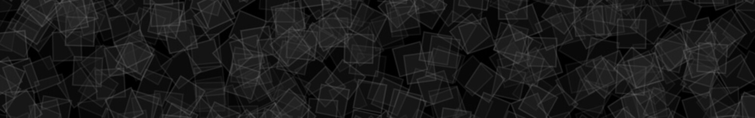 Abstract horizontal banner or background of randomly distributed translucent squares with outlines in black and gray colors.