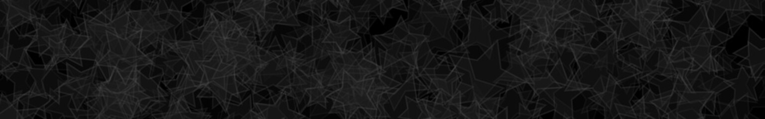 Abstract horizontal banner or background of randomly distributed translucent stars with outlines in black and gray colors.