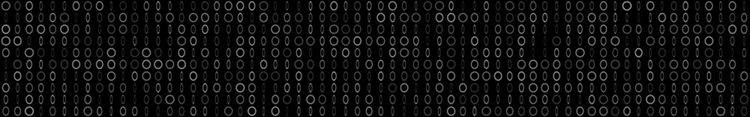 Abstract horizontal banner or background of small rings and ellipses in black colors.