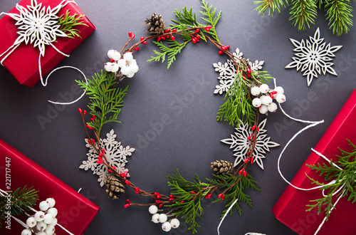 Christmas and New Year holiday background. Xmas greeting card. Flat ...