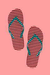 Striped rubber flip flops, isolated. Style: abstraction, illustration, monochrome, neon