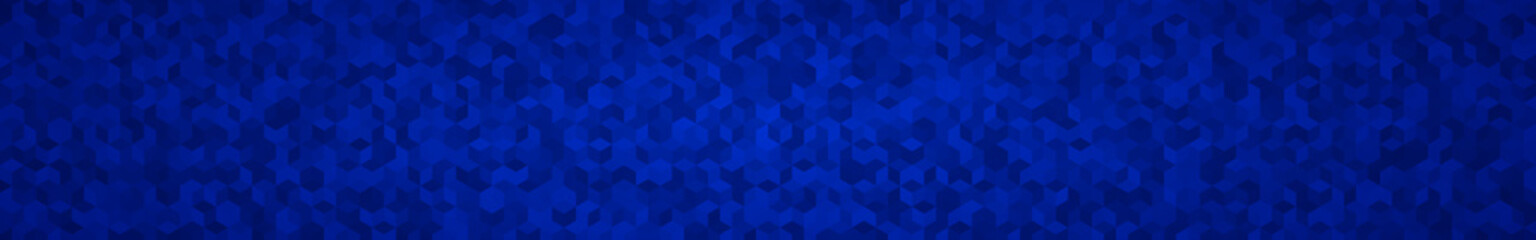Abstract horizontal banner or background of small isometric cubes in blue colors.