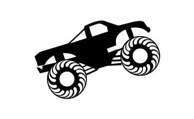 Black monster truck, isolated on white background