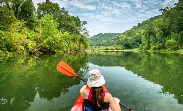 Girl Paddling on the Buffalo River Arkansas