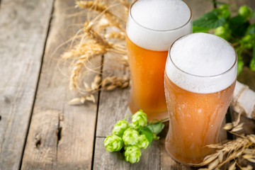 Photo sur Plexiglas Biere, Cidre Beer and ingredients hops, wheat, barley on wood background, copy space