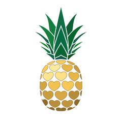 Pineapple golden sign with hearts for t-shirt. Tropical gold exotic fruit isolated white background. Love sign. Cute romantic typography graphic. Sweet summer design decoration. Vector illustration