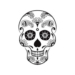 Vector sugar skull with doodle floral pattern. Illustration for Mexican Day of the Dead Celebration Festival
