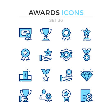 Awards icons. Vector line icons set. Premium quality. Simple thin line design. Modern outline symbols, pictograms.