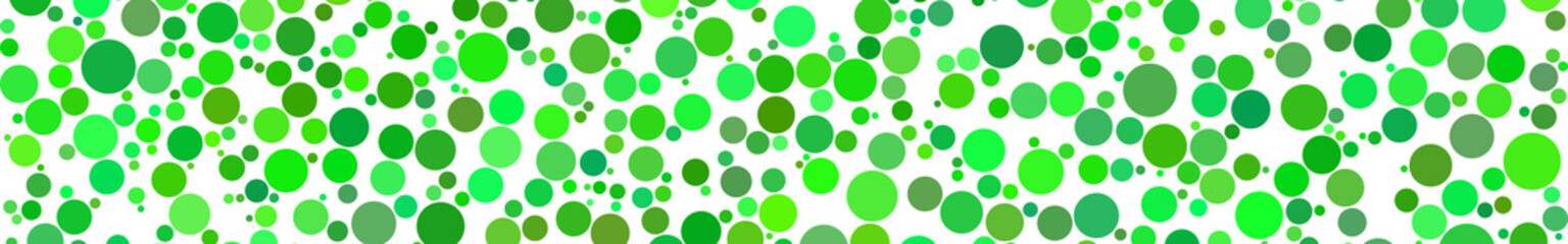 Abstract horizontal banner of circles of different sizes in shades of green colors on white background