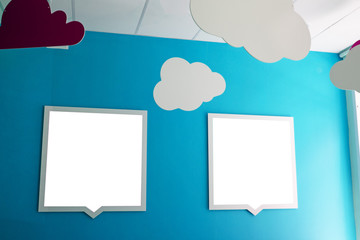 two blank sign in the bautiful kids room